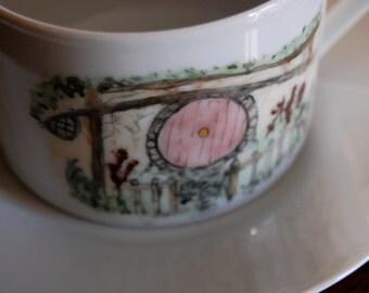 Hobbit Hole Teacup and Saucer--Mauve Door