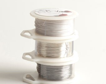 FROZEN Metalic Craft Wires, 28 gauge Extra long Craft Wire spools 360 feet,  Ultra White Silver and Steel gray, non tarnish soft wires