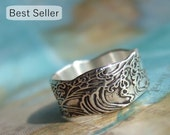 Eco Friendly Jewelry Gift for Her, Recycled Silver Ring, Ocean Waves, Sizes 4 5 6 7 8 9 10 11 12 13 14 15, Eco Friendly Jewelry Silver Ring