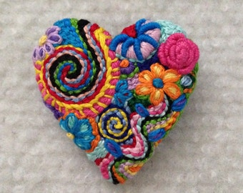 Freeform embroidery heart brooch  Brooch #155