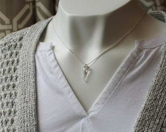 On SALE / CIJ Sale / Crystal Shadow Spike Necklace / Triangle Crystal Sterling Silver Necklace / Modern Crystal Jewelry / Triangle Necklace