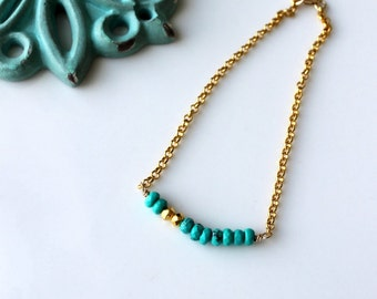 Turquoise Gold Bracelet / Delicate Layering Bracelet / Turquoise Gold Pyrite Gemstone / Vermeil Gold Chain / Summer Arm Candy / Bohemian