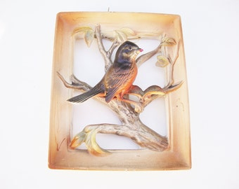 vintage robin bird napco wall plaque 3 D bird picture in frame national pottery