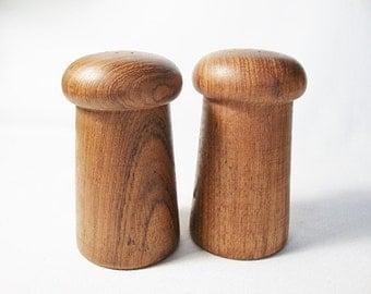 vintage teak wood salt and pepper shakers midcentury modern danish  style