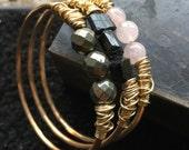 Brass Bangle Bracelet Raw Gemstone Bracelets Set Brass Bangles Rustic Jewelry Gold Bangles Daniellerosebean Hammered Metalwork Bracelets