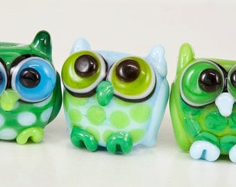 RESERVED for Dawn - Mini Owl Trio Lampwork Glass Beads  -  blue, green