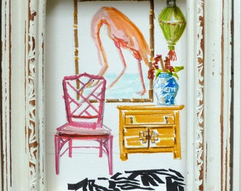 Chinoiserie, Flamingo, Interiors Paintings, ORIGINAL PAINTING, Furniture, Chinese Lanterns, Faux Bamboo Chair, Ginger Jar, Art of Interior