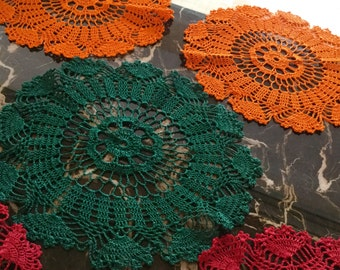 5 Crochet Doilies cotton 12 Inches round Red Green Orange