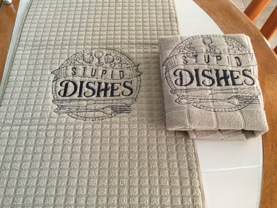 Dish Drying Mat And Towel Set Saying Stupid Dishes