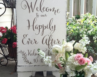 Sandwich Board, Welcome to our Happily Ever After, Wedding Sign, Bride and Groom Signs, A Frame Signs, Self Standing, 37 x 16