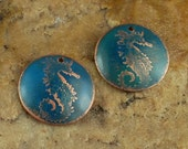 Etched Copper Metal Stamps, Earring Beads, SeaHorse #785 by CC Design