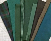 Wool vintage fabric RECYCLED for rug hooking, quilt appliques, penny rugs, proddies, Greens/Blue Teals/Antique Black