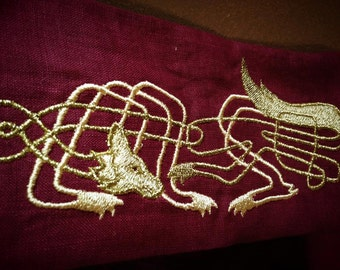 Celtic Wedding Handfasting Cloth in Linen - Celtic Wolf - MADE TO ORDER