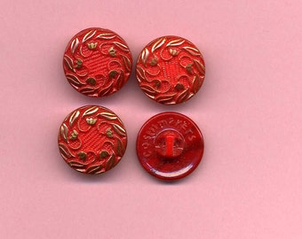 Set Of Four Vintage Glass Buttons - Red With Gold Luster