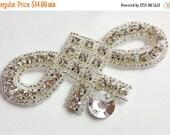 25% OFF Art Deco Crystal applique, rhinestone applique, wedding applique, beaded crystal patch, DIY wedding sash, headband, headpiece