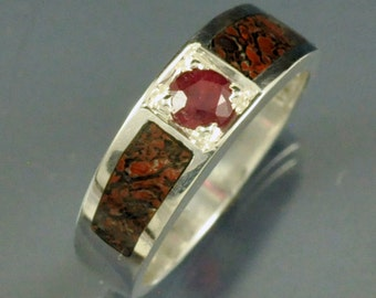 Sterling Silver Inlay Band with Ruby Center Stone and Fossil Dinosaur Bone Inlay
