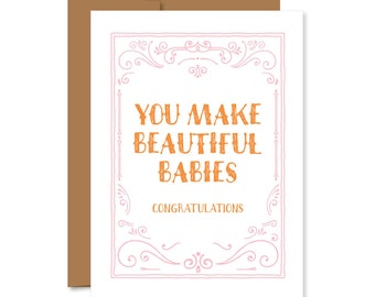 New baby card, baby shower card, congratulations card, congrats greeting card, new mommy, pregnancy card, expecting card, stationery trends