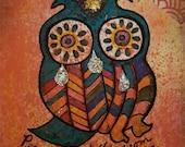 Sad Wise Owl Original Art ACEO .....Depression