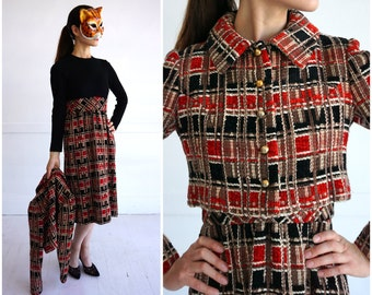 Vintage 1960's Plaid Chenille Wool Tweed Blend Two-Piece Dress Suit with Cropped Jacket | Small