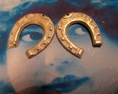 Gold Plated White Frosted Patina Brass Horseshoe Stamping Charms 907WHT x2