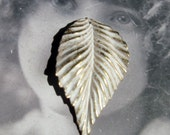 Gold Plated Frosted White Patina Brass Leaf Pendant 817WHT x1