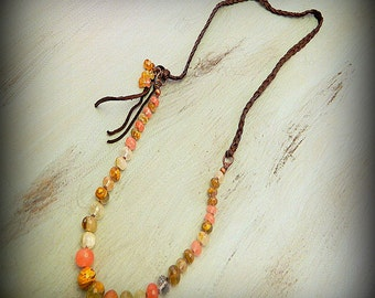 Desert Canyon, Western Cowgirl Southwestern Boho Hand Knotted Cherry Quartz & Braided Leather Necklace