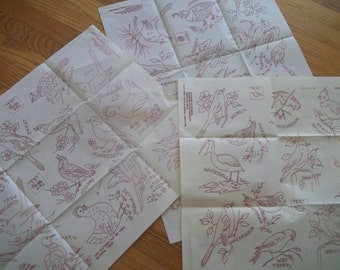 Vintage State Bird Embroidery Hot Iron Transfers