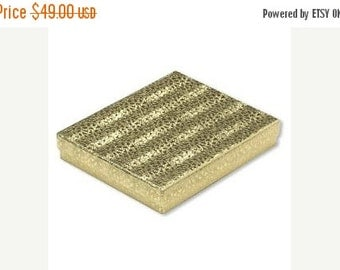 Summer Stock Up Sale 50 Pack Cotton Filled Gold Foil Jewelry Gift Presentation Boxes 7.15 X 5.15 X 1.15 Inch Size