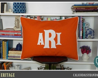 Heritage - Large Font Applique Monogrammed Pillow Cover - Standard Sham