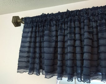 Navy Valance- Ruffled Valance- 13 inch Extra Wide Valance- Country Kitchen Curtain Valance- Girl Nursery Curtain- Sheer Valance Blue Curtain