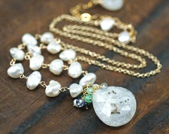 Solar Quartz Necklace, Iolite, Larimar, Chrysoprase, Moss Aquamarine, Keishi Pearl, Apatite, Tanzanite, 14k gold filled ...  KIMI Necklace