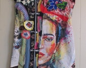 mexican geisha FRIDA - altered artist Collage Clothing - Wearable Folk Art - Kimono Couture Vintage Indigo Fabric - mybonny
