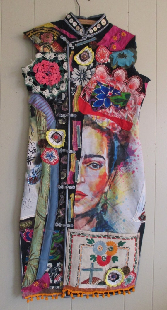 Mexican Geisha FRIDA Altered Artist Collage Clothing