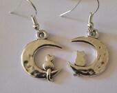 Cat, Cat earrings, Moon, Moon earrings, Kitty, Kitty earrings, Ready to ship, Cat lady, Gifts for her