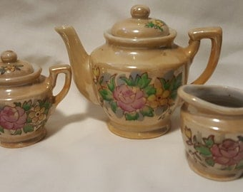 Miniature Lusterware tea set vintage 1980's