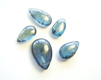 RESERVED - Teal Blue Kyanite Mossy Drops - Set of 5