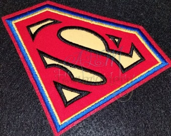 Superman Applique Logo Patch Black Blue Red Thread 6 inches wide