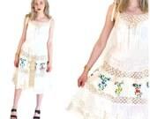 MEXICAN wedding dress vintage 1970s 70s GAUZE boho crochet lace floral EMBROIDERY bohemian festival peasant dress os