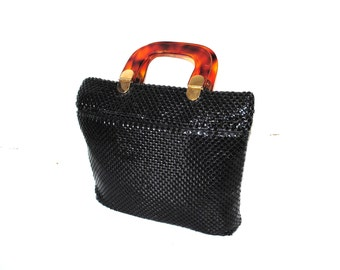 MOD black metal mesh handbag with tortoise shell LUCITE handle 1960s 60s vintage chain mesh square tote
