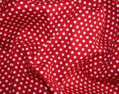 Red & ivory 3mm spot cotton poplin fabric ideal dressmaking and crafts 0.50 metre