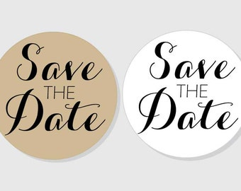 Save The Date Stickers - Wedding - kraft & white matte - assorted sizes - 1.5 inch - 2 inch - 2.5 inch - 3 inch
