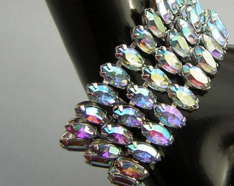 Signed Weiss Rhinestone Cocktail Bracelet - Massive 3 Tiers of Blue Vitrail AB Marquis Navettes Vintage 60s