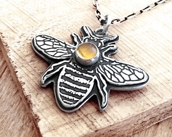 Little bee necklace in silver and Citrine, sterling silver honey bee jewelry, Citrine necklace, honeybee necklace, insect jewelry