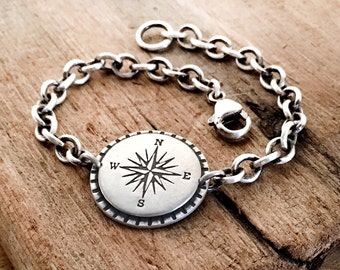Compass bracelet, compass chain bracelet, graduation gift going away retirement gift for her, gift for friend sterling silver travel jewelry