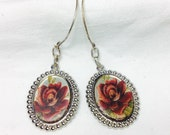 oS THEA ROSES So glass red roses cameo earrings