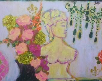 Geneva, bust, roses, pink, purple, black