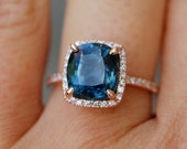Blue Green sapphire engagement ring. Peacock sapphire 4.6ct cushion halo diamond  ring 14k Rose gold ring by Eidelprecious
