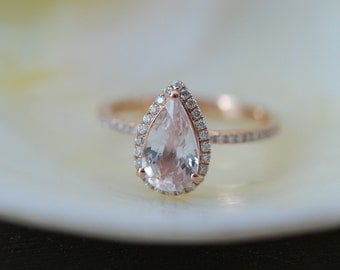 Pear sapphire ring. 1.54ct Peach champagne sapphire ring. 14k rose gold diamond ring engagement ring
