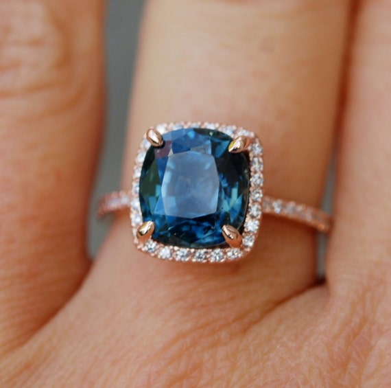 Blue Green sapphire engagement ring. Peacock sapphire 1.95ct cushion halo diamond  ring 14k Rose gold ring by Eidelprecious