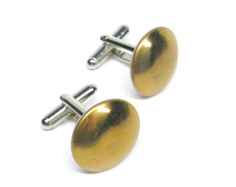 Cuff Links Low Profile Gold Metal Vintage Buttons